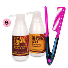 New Design 300ml Keratin Treatment Straighten Strong Cruly Hair+300ml Deep Cleaning Hair Shampoo+Free Red Comb Free Shipping hot sale salon purifying shampoo straighten for keratin hair treatment deep cleaning shampoo 300ml free shipping