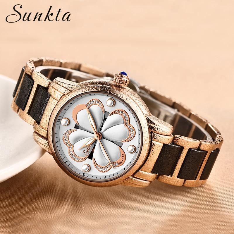 SUNKTA Brand Fashion Watch Women Luxury Ceramic Alloy Bracelet Wristwatch Women Watches Stainless Steel Bands Relogio Feminino in Women 39 s Watches from Watches