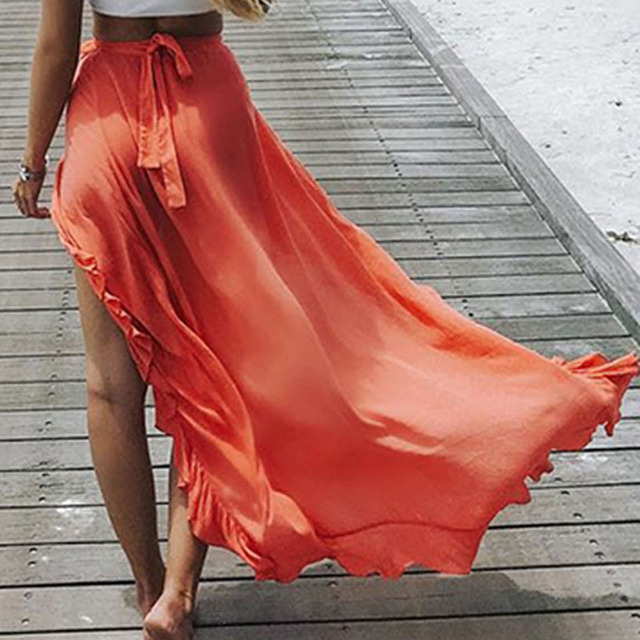 Solid Maxi Boho Chic Lace Up Skirt