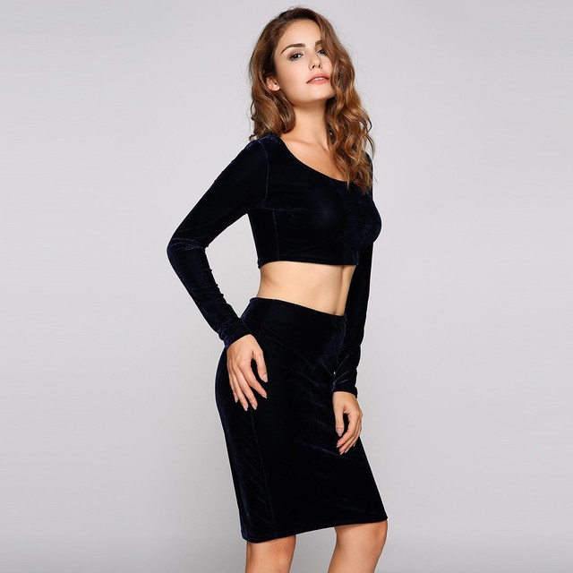 2017 Summer Y Crop Top And Skirt Set Solid Velvet 2 Piece Women Tops Fashion High Waist Bodycon