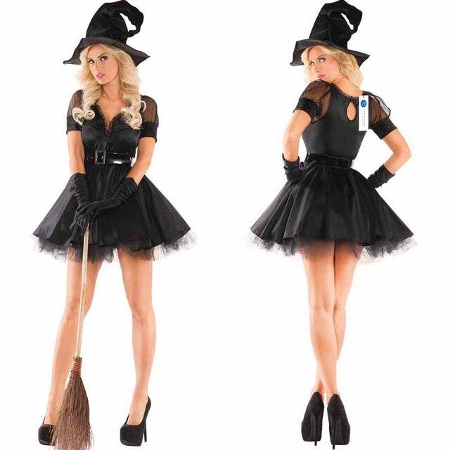 Disfraz bruja con vestido negro