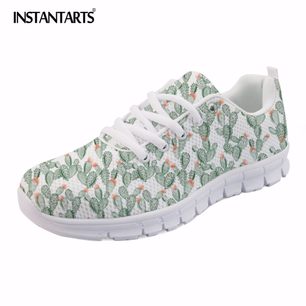 INSTANTARTS Cactus Flowers Print Women Summer Mesh Flat Shoes Plant Design Lace Up Sneakers for Lady Mujer Lightweight Flats instantarts casual women s flats shoes emoji face puzzle pattern ladies lace up sneakers female lightweight mess fashion flats