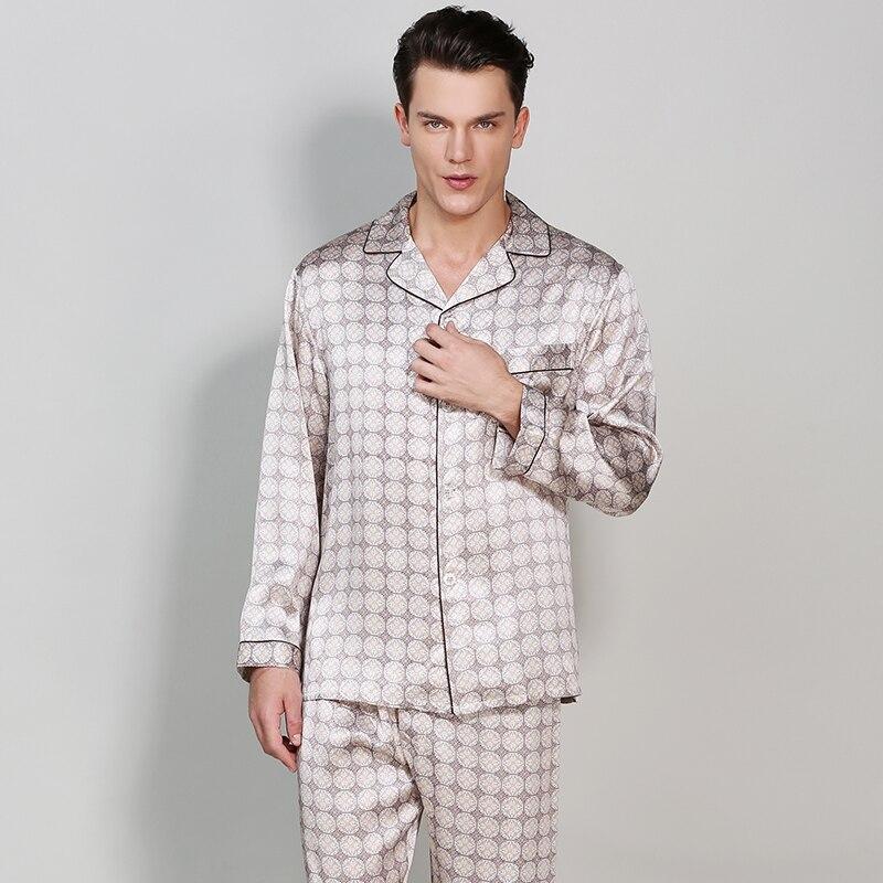 Men's Silk Pajama Sets2019 Plus Size Pajamas Man Silk Pajamas Sets Full Sleeve Sleepwear 2 Pieces Silk Homewear Men Pijama Sets