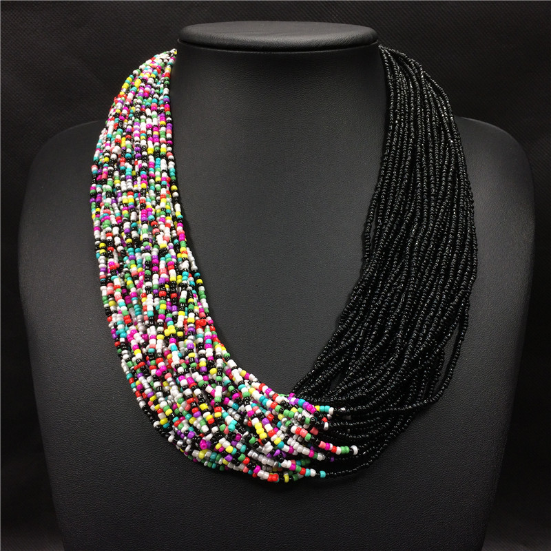 2018 Fashion Bohemian Boho Acrylic Beads Necklace Women Long Multi Layer Statement Strand Necklace Layered Jewelry Dropshipping trendy letter beads layered necklace for women