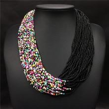 2018 Fashion Bohemian Boho Acrylic Beads Necklace Women Long Multi Layer Statement Strand Necklace Layered Jewelry Collier Femme
