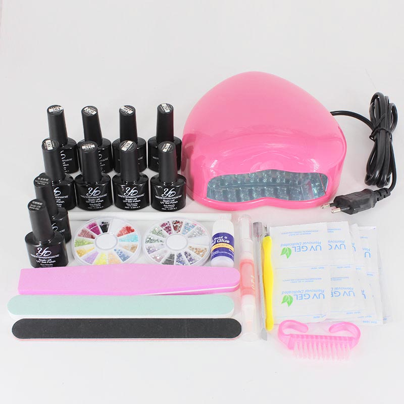 Yiday 8pcs Soak off UV Gel Nail Polish + Base Coat + Top Coat + 3W UV Lamp Nail Art Manicure Tools Set 20pcs gel nail primer top coat and base coat magnetic gel cat s eyes gel nail gelfor uv gel polish best on 15ml nail sticker