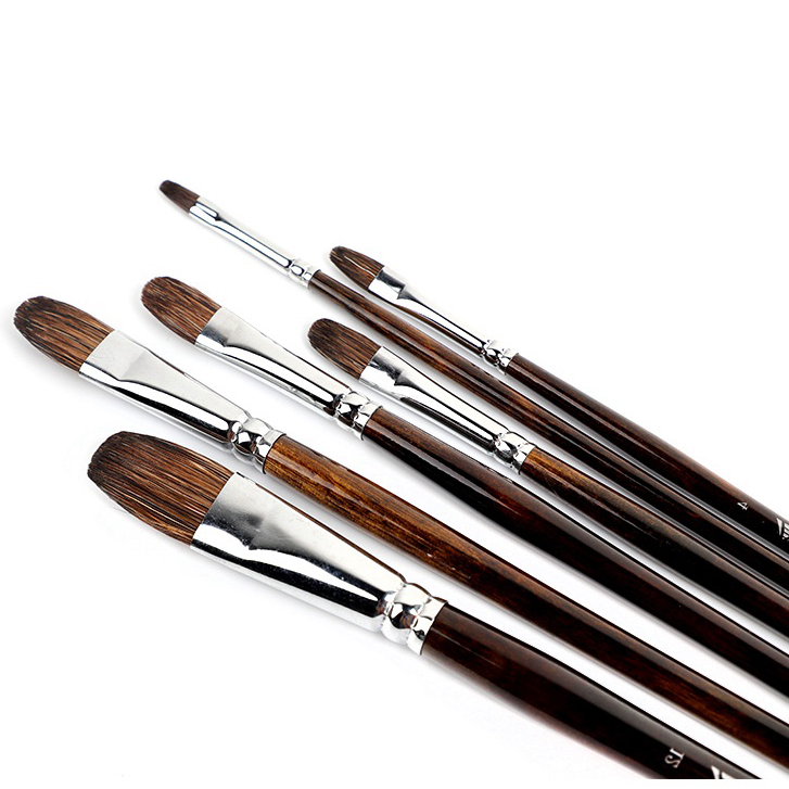 Watercolor Flower Marten Brush Round Head 6 Pcs Set Long Rod Oil Brush Acrylic Pen Animal Hair Hand-painted Adult Paint Brush