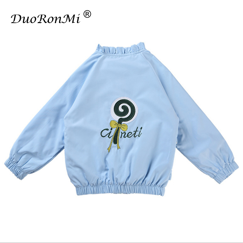 Spring Autumn Fashion Baby Girls Jacket Toddler Girls Coats Embroidery Kids Outerwear Korean Trench Coat Children Princess Cloth