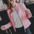 2016 Осень Зима Женщин Новая Мода Искусственной Кожи Куртки Леди Розовый Черный Длинный рукав Мотоцикл Одежды Верхняя Одежда