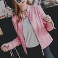2016 Autumn Winter Women New Fashion Faux Leather Jackets Lady Pink Black Long sleeve Motorcycle Clothing Outerwear