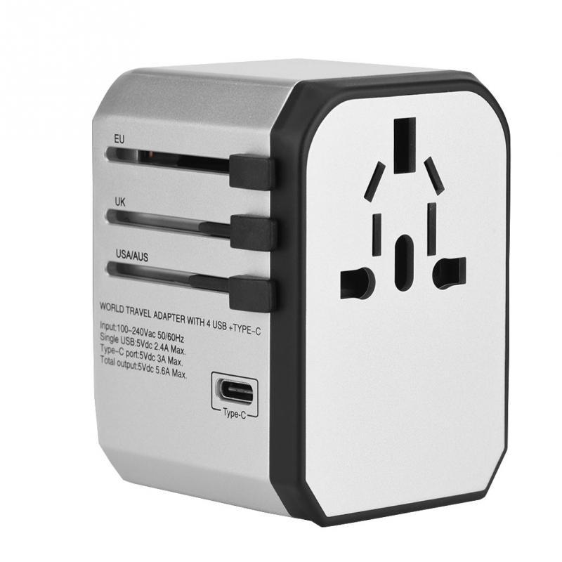 Universal Travel Adapter Plug Electric Plugs Sockets Converter Worldwide 4 Port USB Wall Charger AC Power Adapter Plug Type-C