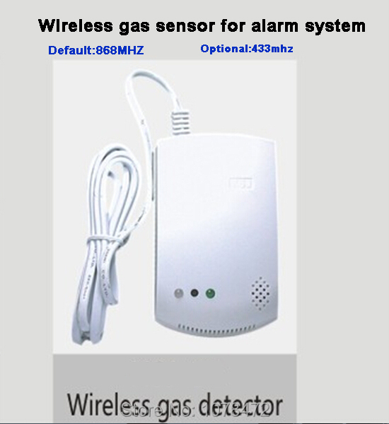 Default 868MHZ gas sensor gas detector for security alarm systems, 433MHZ for option, drop shipping,GSM alarm system gas sensor