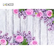 Laeacco Gray Wood Backgrounds For Photography Watercolor Blossom Flower Spring Baby Portrait Photographic Backdrops Photo Studio