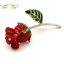Vintage Style Full Micro Pave Crystal Dark Red Rose Bud Brooch Gold Tone Short Stem Green Leaf Rose Pins Holiday Gift Jewelry