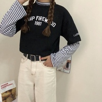 Patchwork Striped Long Sleeve Letter Printed Simple College Wind 2018 Casual New Fashion Female T-shirts Top