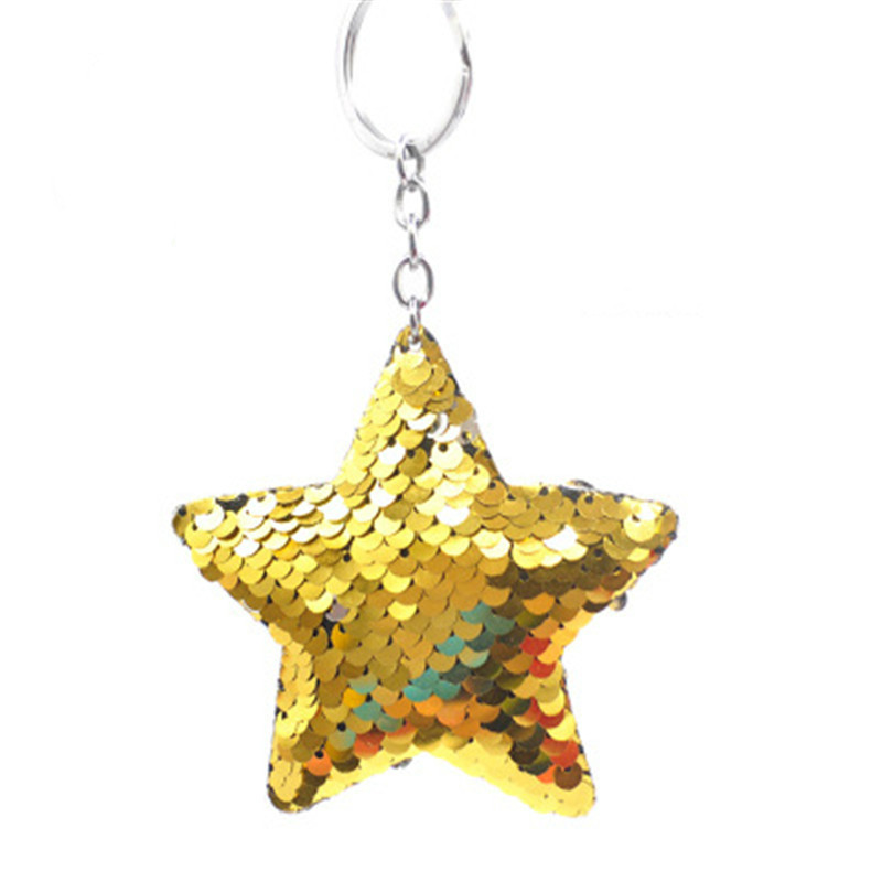 iMucci Cute Star Keychain Glitter Pompom Sequins Key Chain Gifts for Women Car Bag Accessories Key Ring Accessories