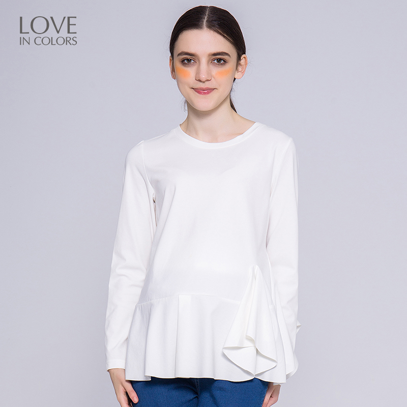Loveincolors Pregnancy Women Tees Knitted Lotus Leaf Hem Solid Half Brief Soft Comfortable Maternity Women Clothes