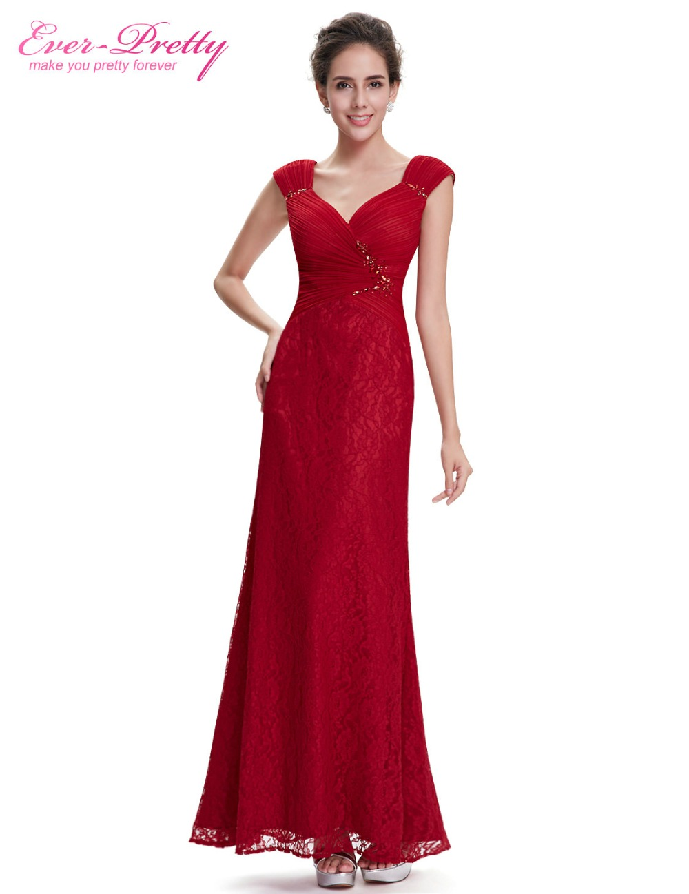 Sexy Evening Dress Ever Pretty HE08604 2017 Red Gown Cap Sleeve ...