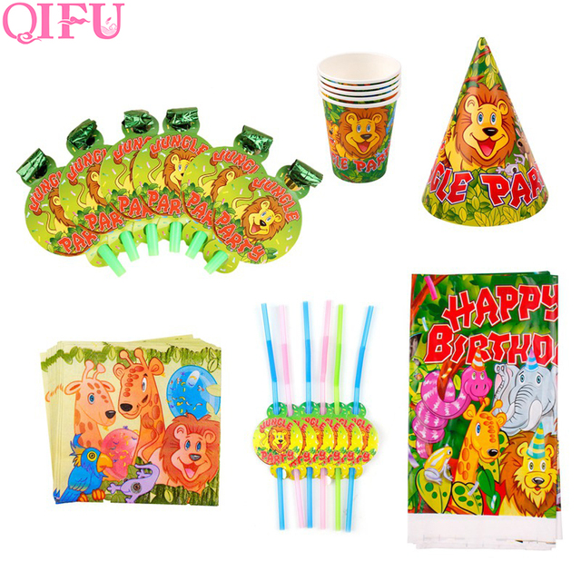Theme Jungle qifu 6pcs tableware set party lion king jungle theme decoration