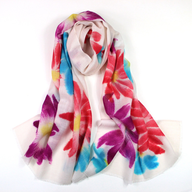 Cachemira pura lana chal, wrap flor, hijab floral, bufanda de lana, cachemira de pashmina, mantones y bufandas, ponchos y capas, pañuelo wrap