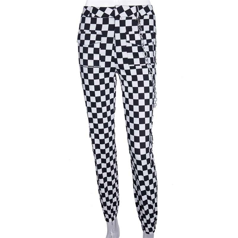 InstaHot Plaid lápiz Casual Jogger pantalón Mujer bolsillos cadena completa pantalones de poliéster mujer suelta a cuadros Pantalon moda