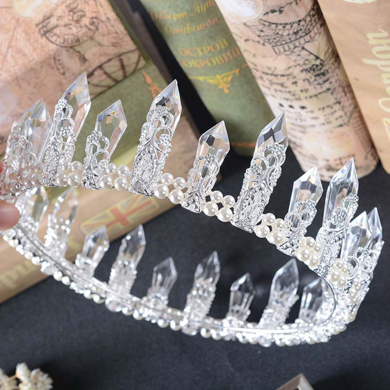 Royal Wedding Crystal Crown For Women Resin Quartz Crystal Mermaid Tiara Bridal Crystal Wedding Hair Accessories Free Shipping