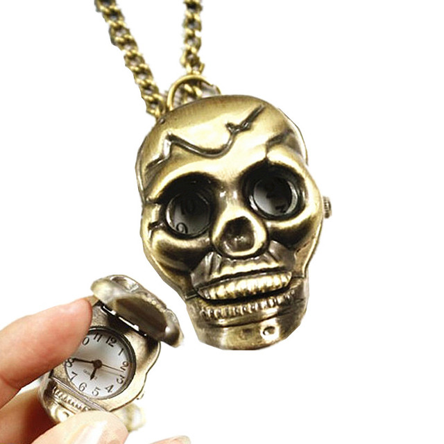 Womens Mens Quartz Pocket Watch 1 PC Punk Skull Vintage Watch Necklace Stylish U