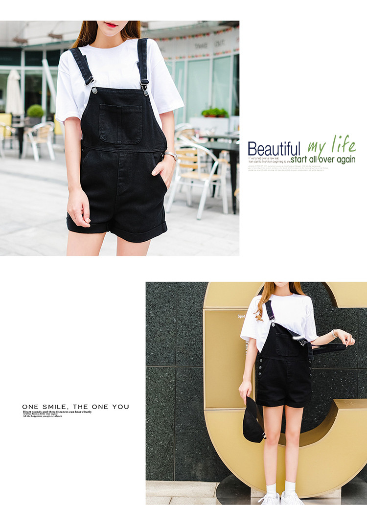 2018 summer large size women's black thin strap shorts fat mm cuff loose Korean plate stretch denim shorts (9)
