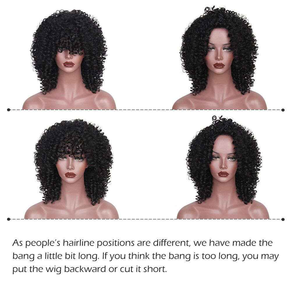 Image 3 - AISI HAIR Synthetic Short Hair Afro Kinky Curly Wigs for  Women Black Hair High Temperature Fiber Mixed Brown and Blonde Color-in Synthetic None-Lace  Wigs from Hair Extensions & Wigs
