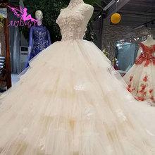 AIJINGYU فساتين زفاف حديثة بأكمام كبيرة الحجم محلات الزفاف رمادي عينة حقيقية مسلم Frocks أم العروس الثياب
