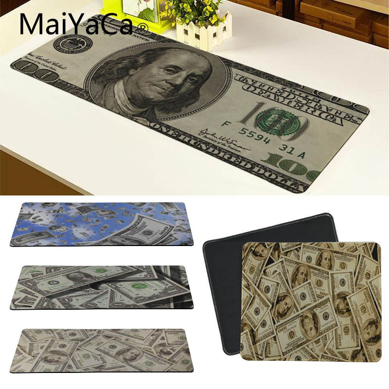 MaiYaCa Hot Sales Dollar Bills Retro Anti-Slip Durable Computermats Large Gaming Mouse Pad Lockedge Mouse Mat Keyboard Pad