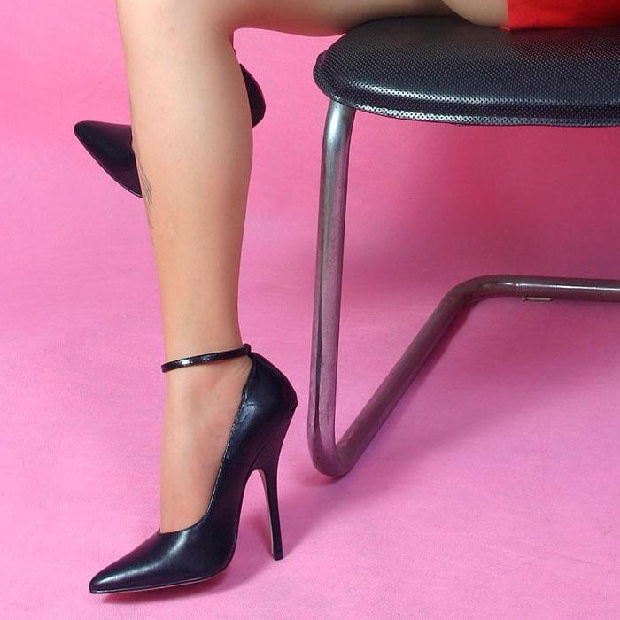 Wire 14Cm Stiletto Fashion Genuine Leather Black Sexy Oil -3844