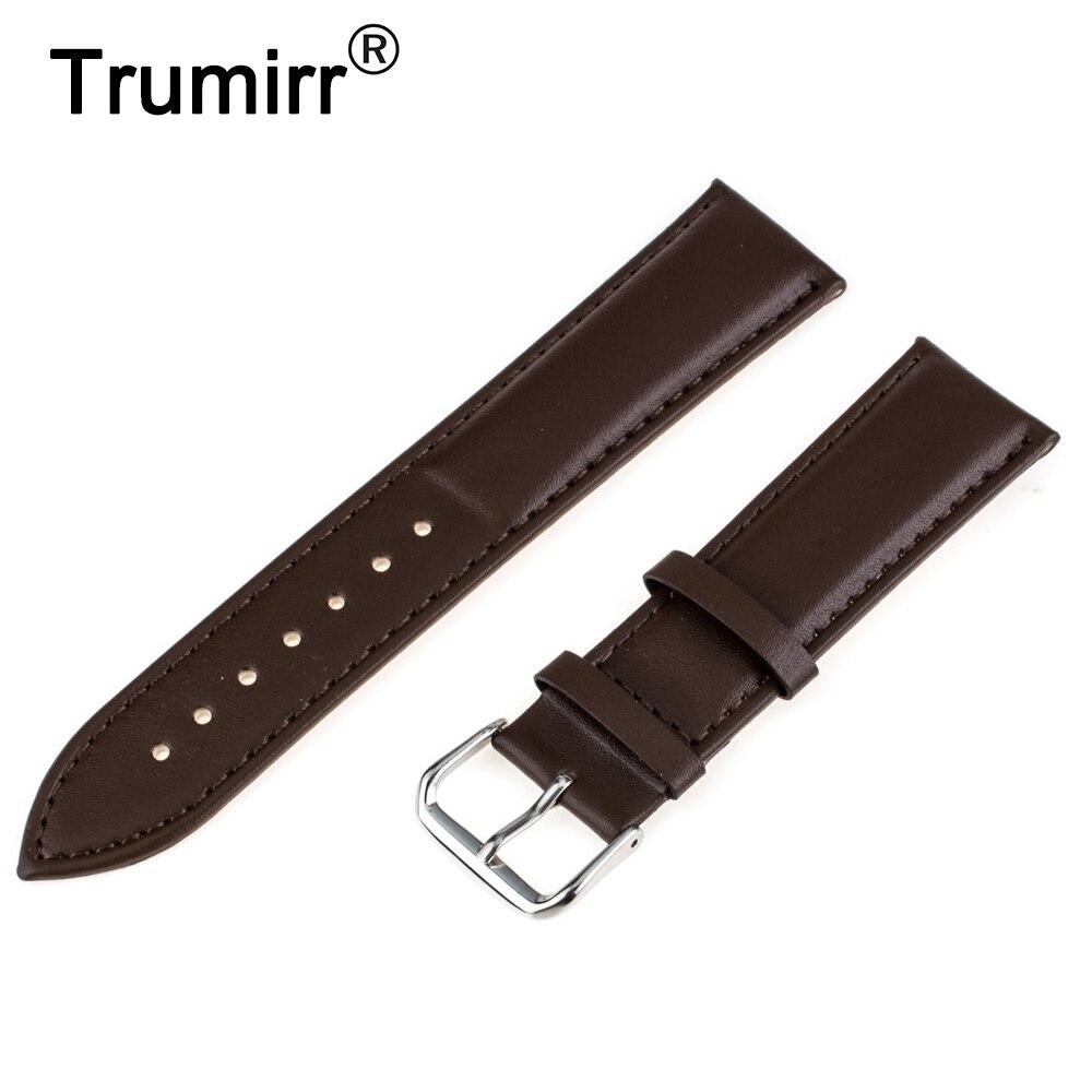 цена на 18mm Genuine Leather Watchband for Withings Activite / Steel / Pop Smart Watch Band Wrist Strap Plain Grain Belt Bracelet + Tool