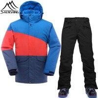 SAENSHING Ski Suit Men Waterproof Snow Jacket Snowboard Pants Breathable Thicken Snowboarding Suits Outdoor Ski Clothing
