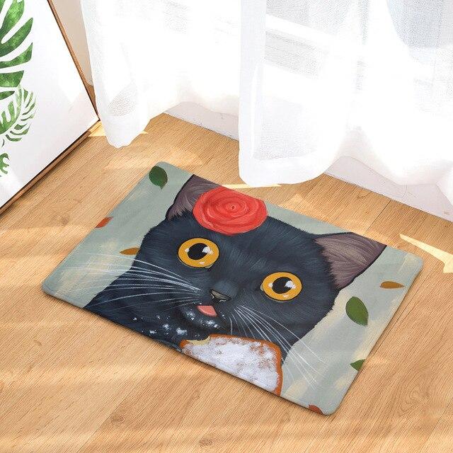 cammitever nero bianco del gatto del fumetto bagno household ... - Tappeto Soggiorno Nero