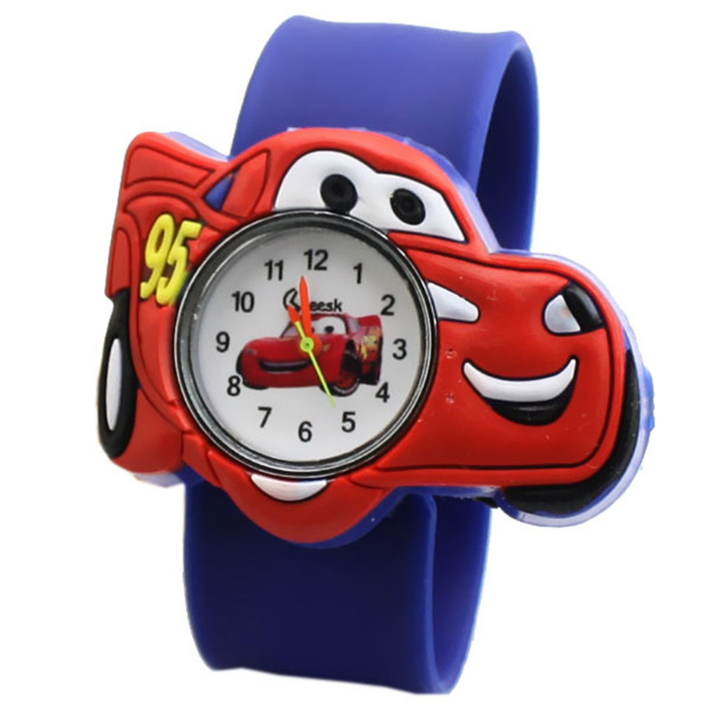 2019 hot selling Children watch boy cartoon car Clock Silicone Tape patted table students lovely cool child gift men kids(China)