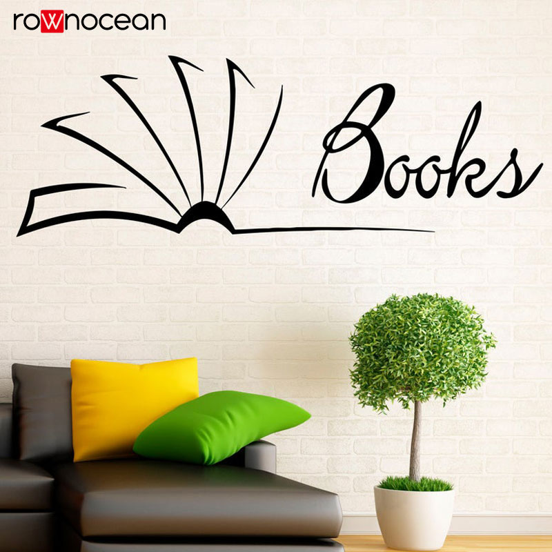Books Wall Stickers Reading Room Library Interior Housewares Design Bedroom Home Decor Vinyl Decals Art Mural Kids Room 3440 in Wall Stickers from Home Garden