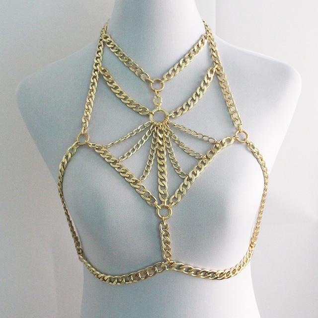 e125e2f5fc Sexy women gold Bra Body Jewelry Chain Necklace Choker for Women harness  body Accessories Chocker Necklace