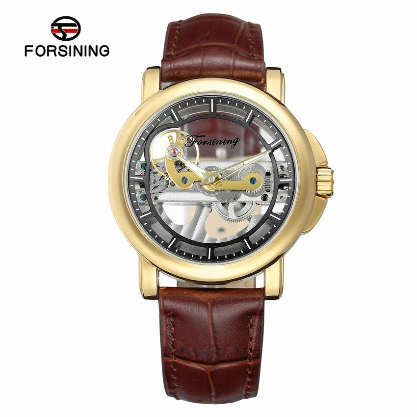Forsining Men Luxury Brand Leather Skeleton Wrist Watches Minimalism Design Double Sided Hollow Steampunk Mechanical Watch Clock forsining brown leather belt golden bezel transparent case steampunk double sided hollow men automatic watches top brand luxury