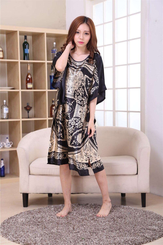 6ef9a7d4971e5 Female Satin Robe Dress Nightgown Novelty Women's Kaftan Bath Gown Summer  Lounge Homewear Plus Size 6XL