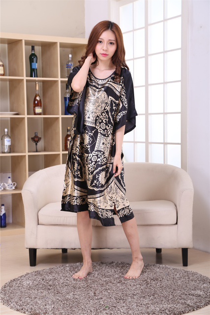 Female Satin Robe Dress Nightgown Novelty Women's Kaftan Bath Gown Summer Lounge Homewear Plus Size 6XL 4
