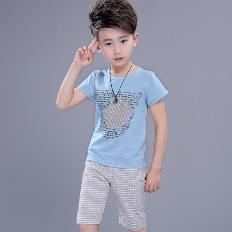 Boys Summer Clothing Set Fashion Cotton Children Clothes For Boy 110-160 T-shirt + Pants Color Blue / White
