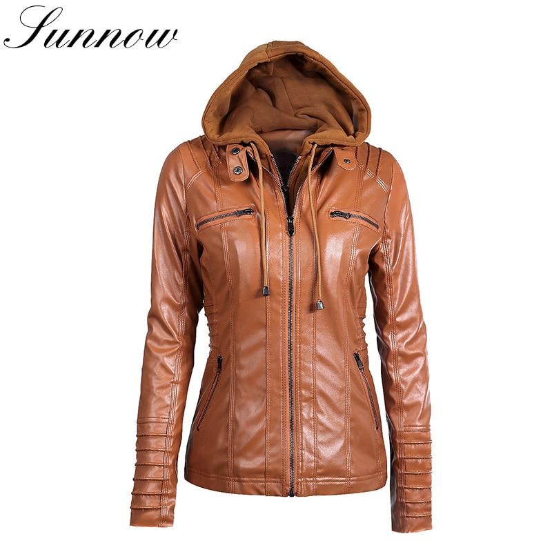 SUNNOW PU Women   Leather   Jacket Faux   Leather   Coat Autumn Winter Hooded Black Motorcycle Jackets Hat Detachable Long Sleeve Coats