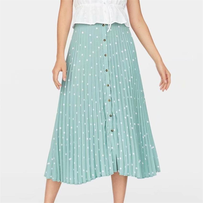 2019 Elegant Polka Dots Pleated Midi Skirt Women Buttons Design Stylisy Casual Skirt Chic Vestidos