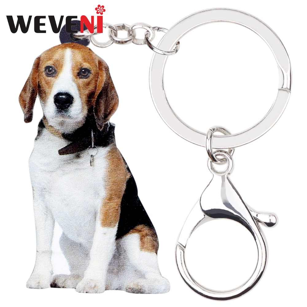 WEVENI Original Acrylic Beagle Dog Key Chains Keychain Ring New Trendy Animal Jewelry For Women Girls Bag Car Charms Drop Ship