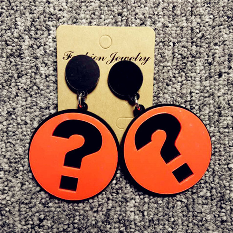 ORP Europe and United States Pop acrylic Exaggerated question mark earrings personalized campus girls fashion stud earring