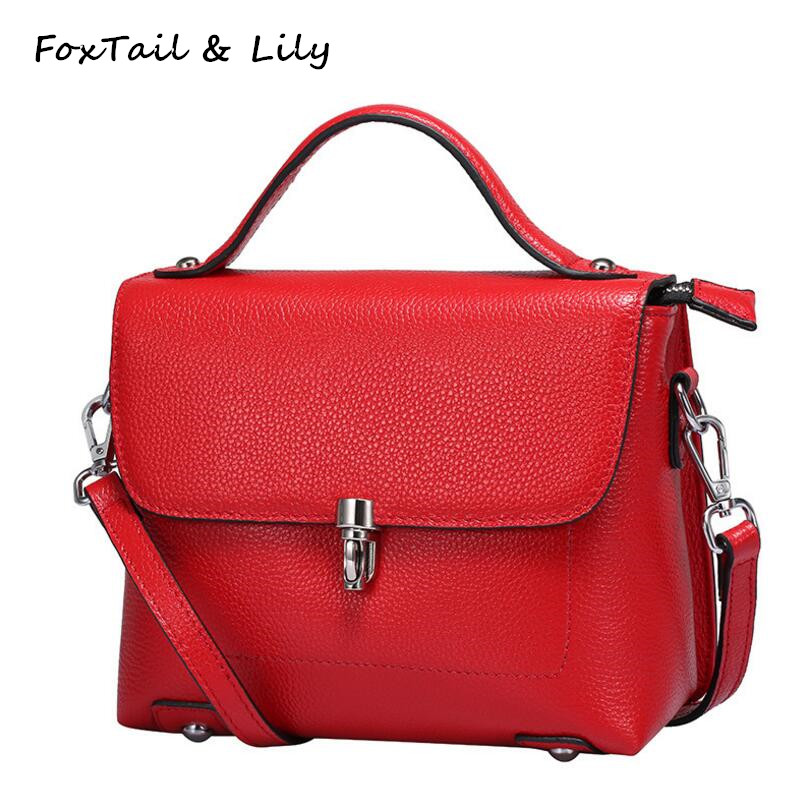 FoxTail & Lily Genuine Leather Women Messenger Bag Small Leather Handbag Luxury Designer Ladies Tote Shoulder Bags High Quality feral cat women small shell bag pvc zipper single shoulder bag luxury quality ladies hand bags girls designer crossbody bag tas