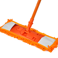 ALIM NEW Extendable Minifibre Mop Cleaner Sweeper Wooden Laminate Tile Floor Wet Dry Orange