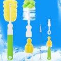 6 unids/lote multifunción 360 grados esponja cepillo de limpieza de la taza / botella cepillo pezón cepillo herramienta que se lava Kit Color al azar por mayor