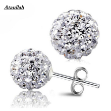 New 6MM 925 Sterling Silver Fashion  Ball Stud Earrings for Women Anti-allergy Fine Jewelry Women Gift Brand Ataullah EWC025